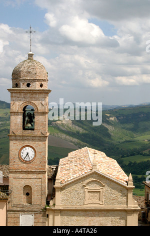 Monte San Martino clocktower where the clock is kept at a quirky twisted angle as a reminder of when the earthquake struck - Stock Image