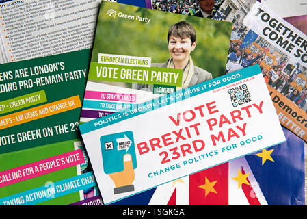 Selection of European Parliament Election Leaflets UK 23rd May 2019 - Stock Image