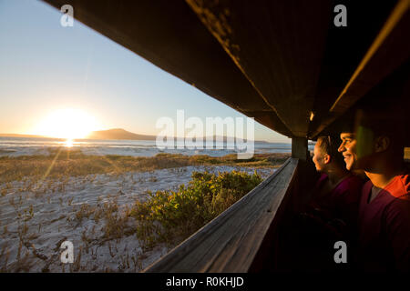 Couple bird watching in the West Coast National Park - Stock Image