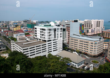 City centre streetscape, looking southwest from Signal Hill towards the harbour. Kota Kinabalu, Sabah, Malaysian Borneo, - Stock Image