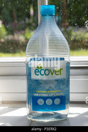 Plastic container bottle of Ecover environmentally friendly washing-up liquid on kitchen window, England, UK - Stock Image