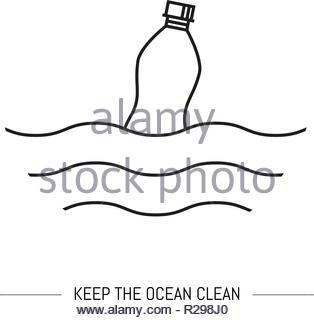 Keep the ocean clean. Line art isolated on white background - Stock Image