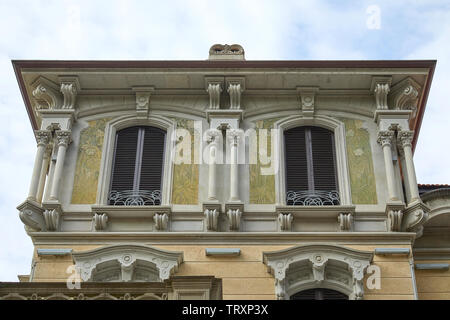 TURIN, ITALY - SEPTEMBER 10, 2017: Art Nouveau building architecture with green floral decorations in Turin, Italy - Stock Image