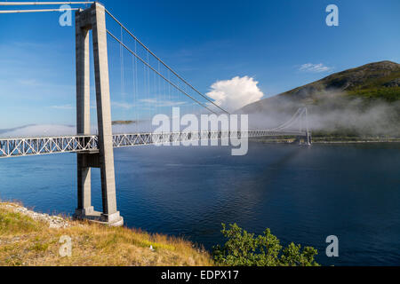 A picture of a hanging bridge in kvalsund, norway - Stock Image