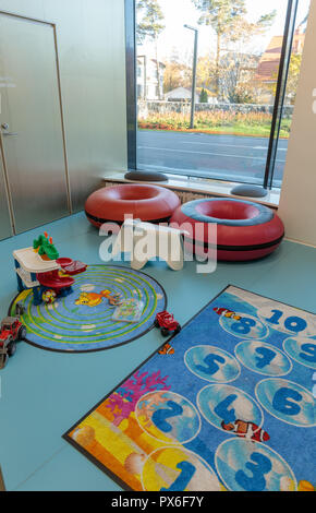 Helsinki New Children's Hospital opened for patients on 17 September 2018. The modern and practical building has colourful facade and nice playrooms. - Stock Image