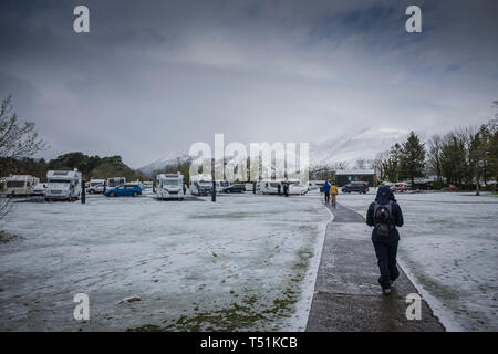 Camping and Caravanning Club site with Spring snow at Keswick, Cumbria, UK. - Stock Image