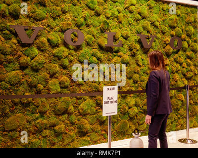 Woman watering living wall, Volvo display. 2019 Chicago Auto Show. - Stock Image
