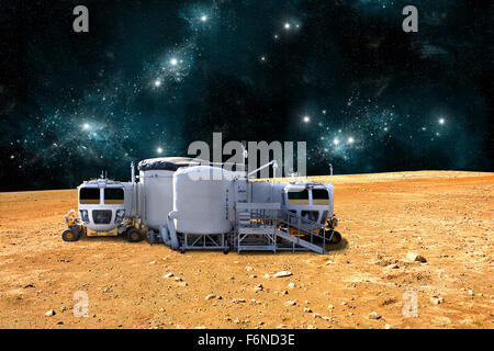 An artist's depiction of a planetary base on a barren world. The small colony is equipped with two rovers for - Stock Image