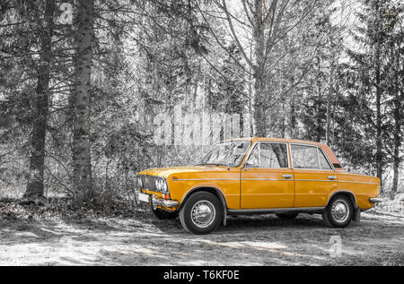 Tallinn,Harjumaa/Estonia-01MAY2019: Perfect condition retro car LADA 1600 (from year 1977) parked by the dirt road, next to forest, nature outdoors in - Stock Image