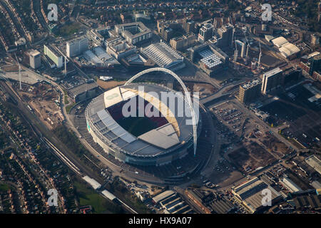 Aerial view of Wembley football stadium, London - Stock Image