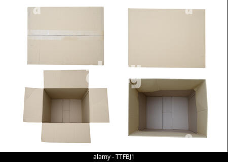 Empty open rectangular cardboard box close up top view - Stock Image