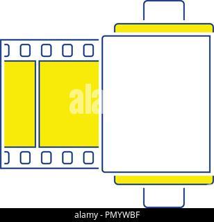 Photo cartridge reel icon. Thin line design. Vector illustration. - Stock Image