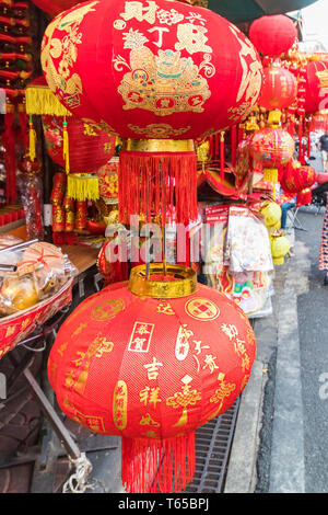 Bangkok, Thailand - January 31st 2019: Chinese lanterns for sale on Yaowarat road. Chinatown still upholds many Chinese traditions. - Stock Image