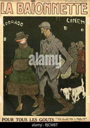 Front cover design for La Baionnette, For All Tastes. Showing a soldier on leave, on a night out with his girlfriend. - Stock Image