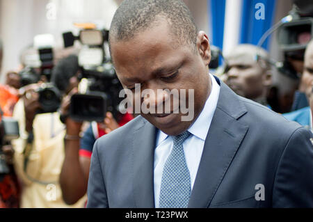 Abidjan, Ivory Coast - August 3, 2017: isolated authority alone standing in front of the media during the end-of-cycle ceremony of naval students - Stock Image