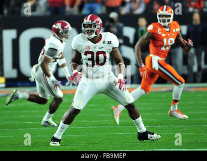 Glendale, AZ, USA. 11th Jan, 2016. LB Denzel Devall #30 of Alabama during the 2016 College Football Playoff National - Stock Image