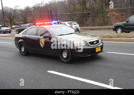 Maryland State Police on a emergency call - Stock Image