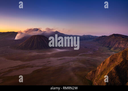 Scenic view of the Bromo volcano and the Tengger Caldera at sunrise, East Java, Indonesia - Stock Image