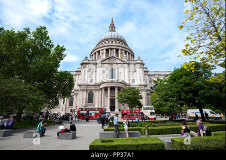 Exterior side view of St Paul's Cathedral, London - Stock Image