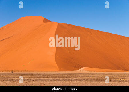 The famous red sand dunes at Sossusvlei, inside the Namib-Naukluft Park, a UNESCO World Heritage site, in Namibia. - Stock Image