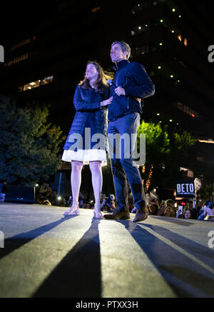 Former congressman Beto O'Rourke of El Paso, TX stands onstage with wife Amy as he kicks off his presidential campaign at a late night rally in front of the Texas Capitol. - Stock Image