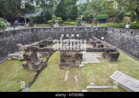 HONG KONG - OCT 9, 2013 - Foundations of the south gate of the original Kowloon Walled City at Kowloon Walled City - Stock Image