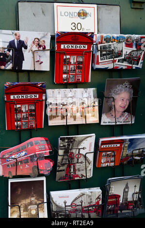 Postcards of Royals and iconic symbols for sale in London, UK - Stock Image