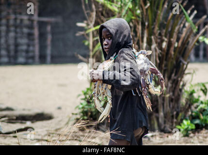 Boy with giant crabs, Turtle Islands, Sierra Leone. - Stock Image