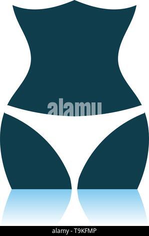 Slim Waist Icon. Shadow Reflection Design. Vector Illustration. - Stock Image