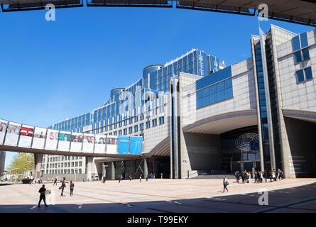 Esplanade Solidarnosc 1980, EU Parliament buildings, European Parliament building, Altiero Spinelli building, Brussels Belgium Eu Europe - Stock Image