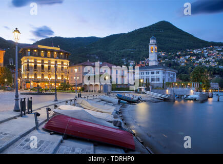 Cernobbio - The little town at Como lake  at dusk. - Stock Image
