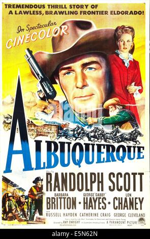 ALBUQUERQUE, from left: Randolph Scott, Barbara Britton, 1948 - Stock Image