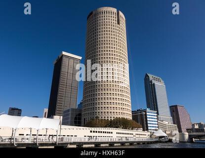 Tampa skyline CBD skyscrapers and Riverwalk, Florida, USA - Stock Image