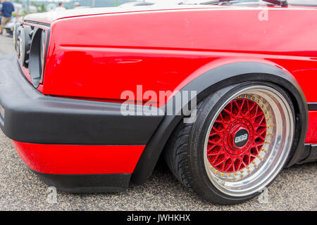 Bielsko-Biala, Poland. 12th Aug, 2017. International automotive trade fairs - MotoShow Bielsko-Biala. Modified Volkswagen Golf II with BBS wheels. Credit: Lukasz Obermann/Alamy Live News - Stock Image