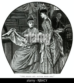 Two women choosing some material to be made into the latest fashionable dress. - Stock Image