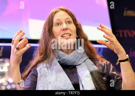 Hay Festival, Hay on Wye, Powys, Wales, UK - Thursday 30th May 2019 - Traveller and presenter Alice Morrison on stage at the Hay Festival to talk about her journeys through Morocco to Timbuktu and her book My 1,001 Nights - Tales and Adventures from Morocco. The eleven day Festival features over 800 events - the Hay Festival continues to Sunday 2nd June. Photo Steven May / Alamy Live News - Stock Image