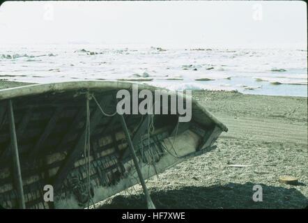 Eskimo Umiak; Point Barrow, Alaska.  Boat made of skins stretched on wooden frame. - Stock Image