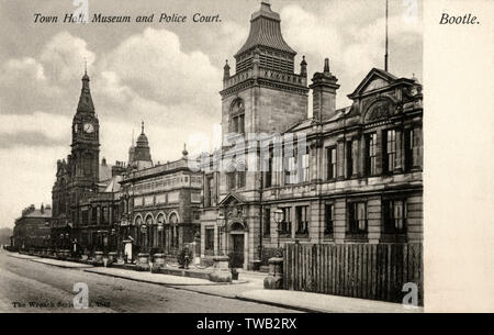 The Town Hall, Museum and Police Court - Bootle, Lancashire     Date: 1909 - Stock Image