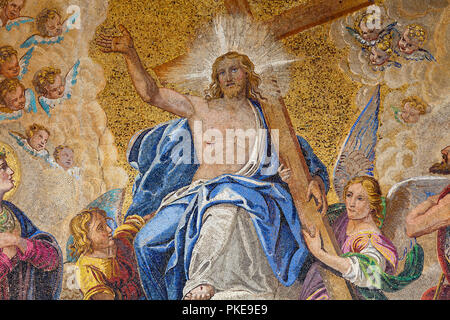 Mosaic of the Last Judgement on Basilica of St. Marks; Venice, Italy - Stock Image