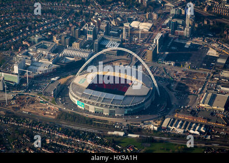 Aerial view of Wembley football stadium - Stock Image