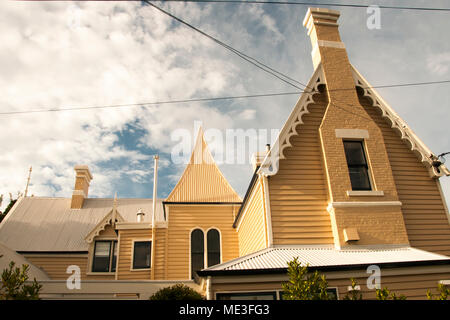 Victorian Gothic timber house in Battery Point, Hobart, Tasmania, Australia - Stock Image