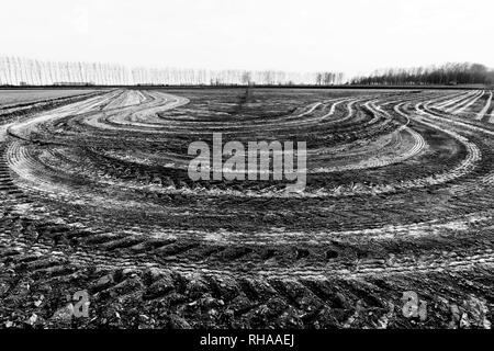 Imprints circles of tractor tires on ground - Stock Image