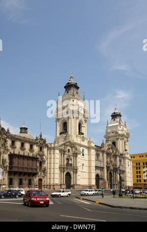 The Archbishop's Palace and Cathedral of Lima, Plaza Mayor,  Lima, Peru - Stock Image