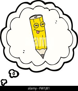 happy freehand drawn thought bubble cartoon sly pencil - Stock Image