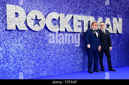 David Furnish and Elton John attending the Rocketman UK Premiere, at the Odeon Luxe, Leicester Square, London. - Stock Image