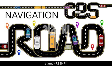 Roads, cars, navigator tags. The highway is stylized under the inscription GPS-navigator and road. Isolated Illustration - Stock Image