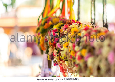 Colorful flower headbands made by hand - Stock Image