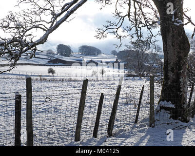 Crosby Ravensworth, Eden Valley, Cumbria, UK. 18th January, 2018. snow covers the fields and fences of farmland - Stock Image