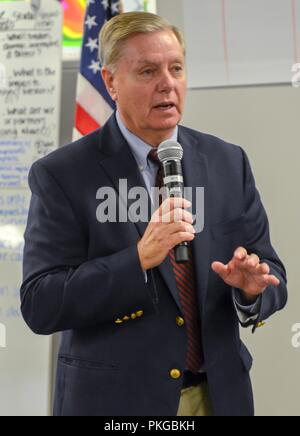 U.S. Sen. Lindsey Graham of South Carolina addresses members of the National Response Coordination Center to thank them for their support of the states in the path of Hurricane Florence September 13, 2018 in Washington, DC. - Stock Image