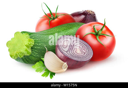Isolated vegetables. Raw zucchini, red onions and tomatoes (sauté ingredients) isolated on white background with clipping path - Stock Image